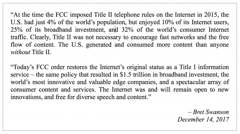 Restoring Internet Freedom - statement - Swanson - 12.14.17